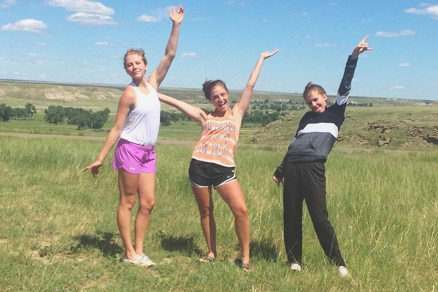 From left, Allix, Haley, and Lauryn Goldhahn at Fort Benton, Montana on a family vacation.