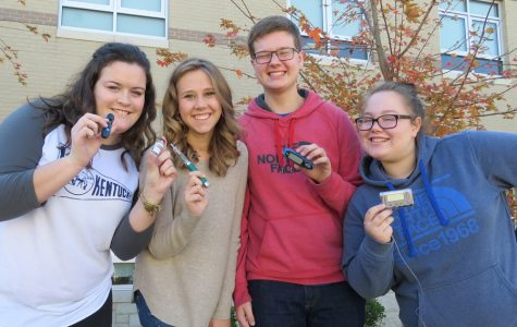 Lauren Palmer, Rebecca Eaves, Thomas Cantrell, and Stephanie Hull pose with their diabetic supplies.