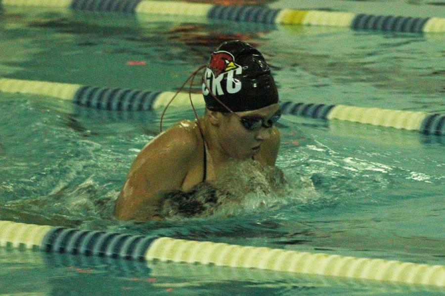 Mackenzie Crowl pushes toward the finish line at recent College Park meet.