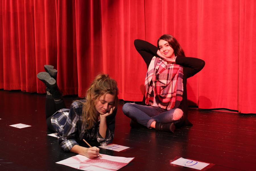Juniors Emma Mitmesser and Madison Plowman show off their drawing and acting skills as members of the Fine Arts Cohort.