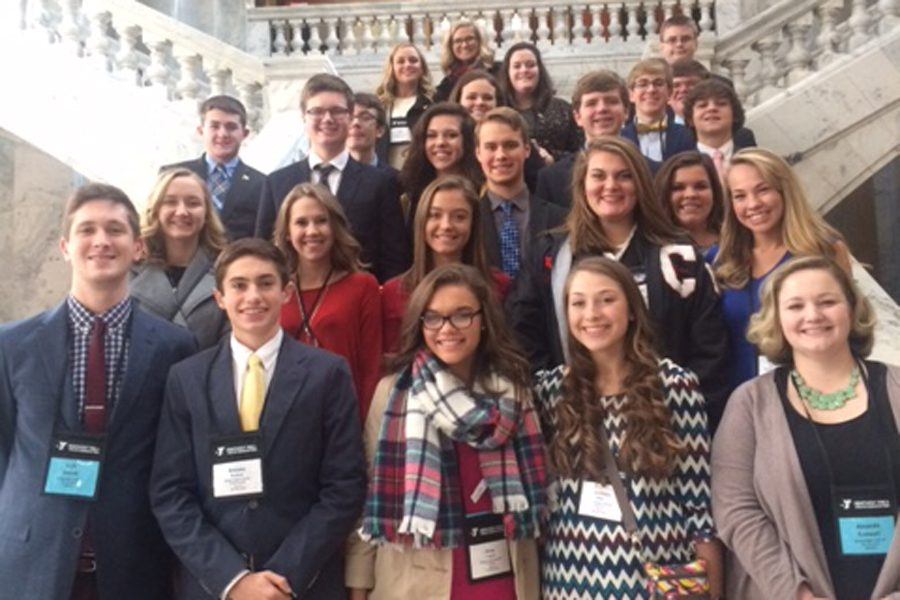 The+GRC+Y-Club+stands+on+the+steps+of+the+state+capitol+while+attending+this+year%27s+KYA+conference.