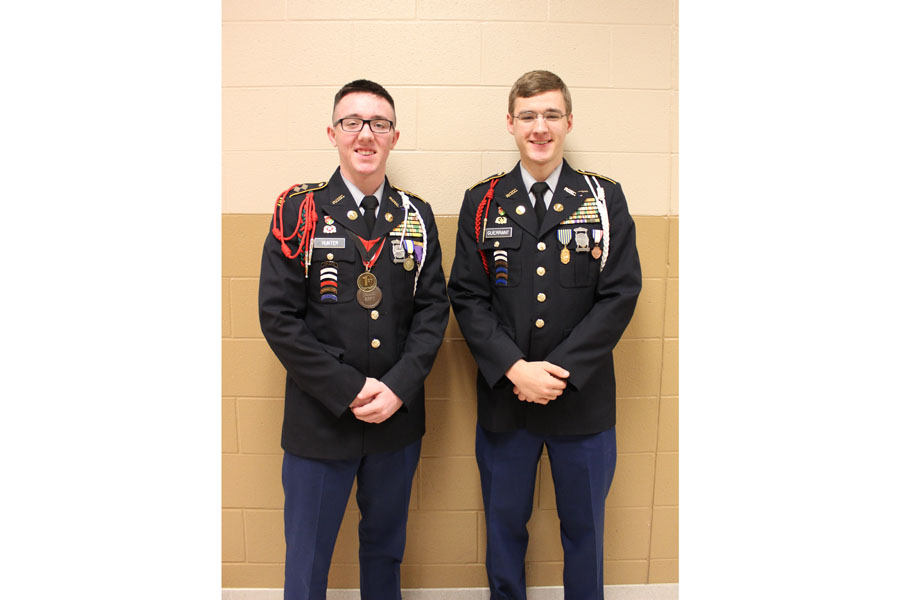 Seniors Riley Hunter and Daniel Guerrant received the national 3-year JROTC scholarship award.