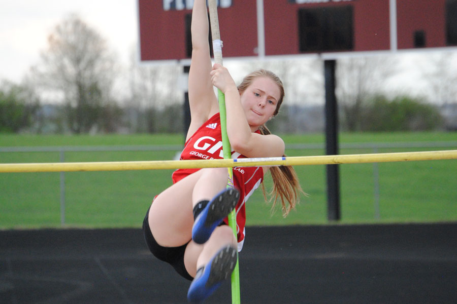 Skylar Carmichael's attempt at the pole vault.