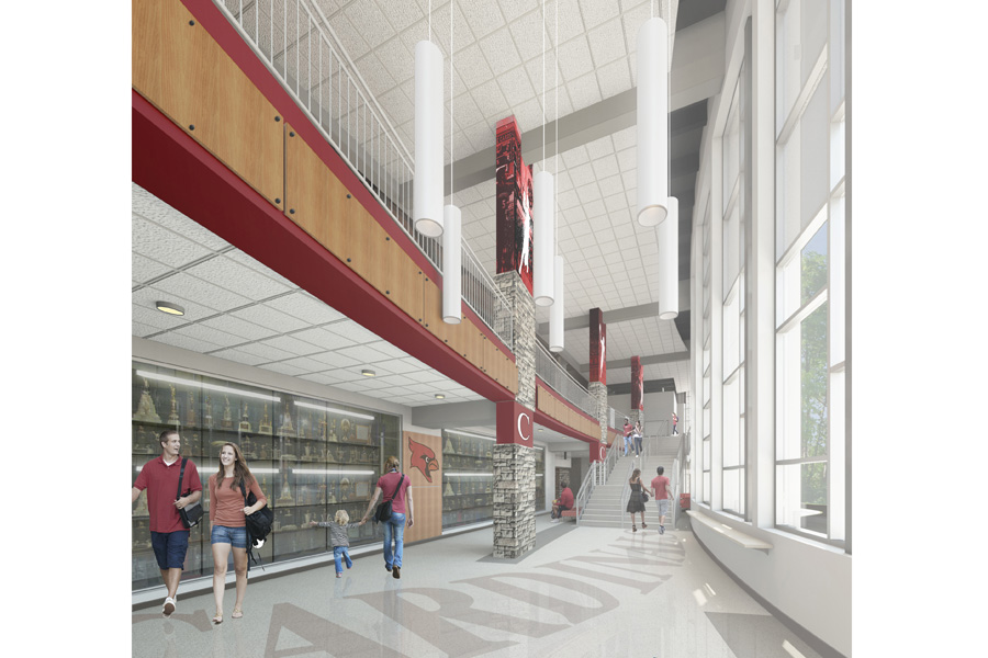 The architect's artist rendering of the new lobby that will be constructed for the gymnasium.