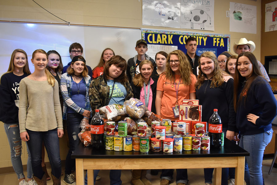 FFA members pose with items brought in so far.