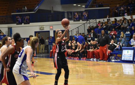 Shamaya Behanan shoots a free throw in her 22-point game.