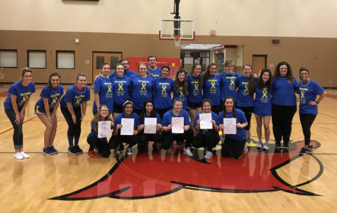DanceBlue participants gather to show the $2,055 they raised for Pedriatic Cancer.