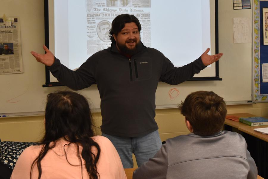 Mr. Shepherd teaches one of his social studies classes.