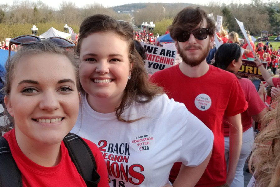 Taylor Rader, Olivia Montgomery and Blayk Riley at the Frankfort rally.