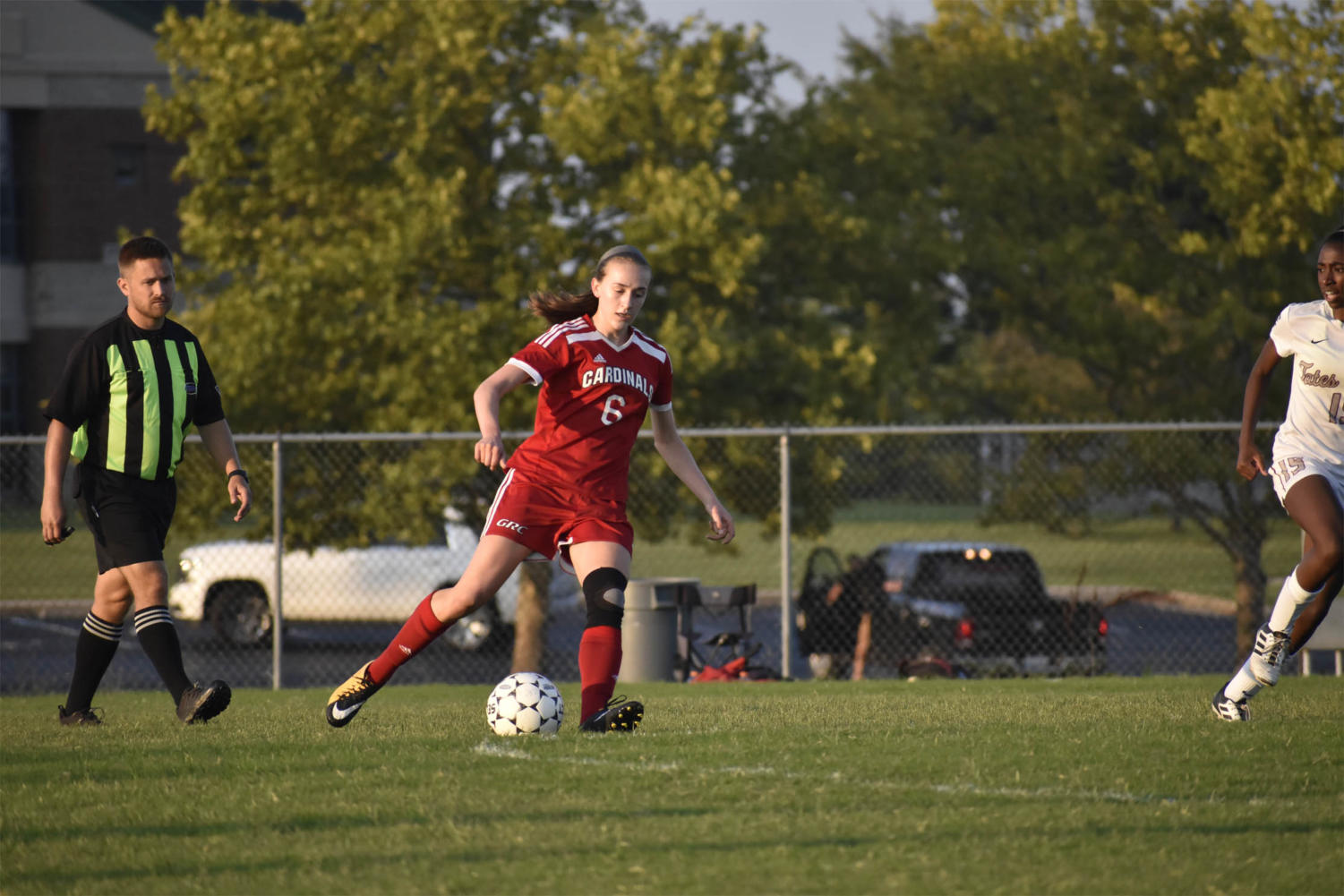 Julia Pohl, 10th, moves the ball upfield.