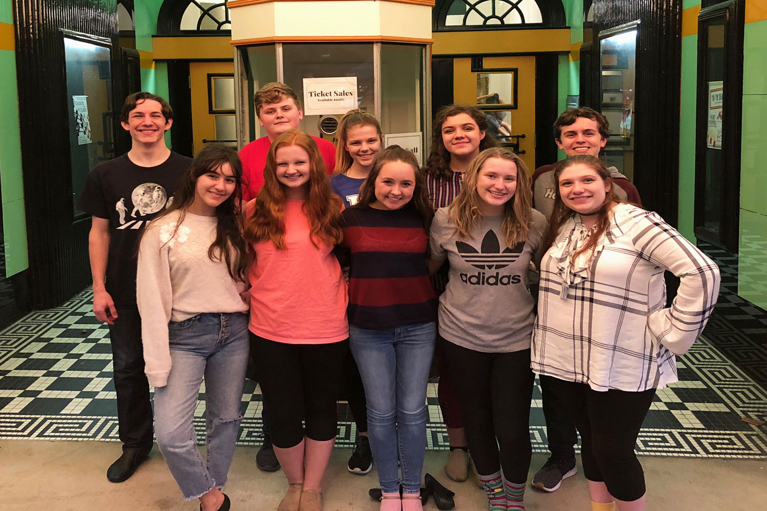 GRC students in Aladdin, front row from left, Sarina McQuerry, Hannah Christopher, Ella Cooper, Addy Reed, Cassie Shields. Back row from left, Galen Arnett, Jacob Wheeler, Hallee Cecil, Destiny Napier, Andrew Roberts