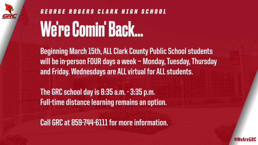Students returning to in-person school Monday, March 15