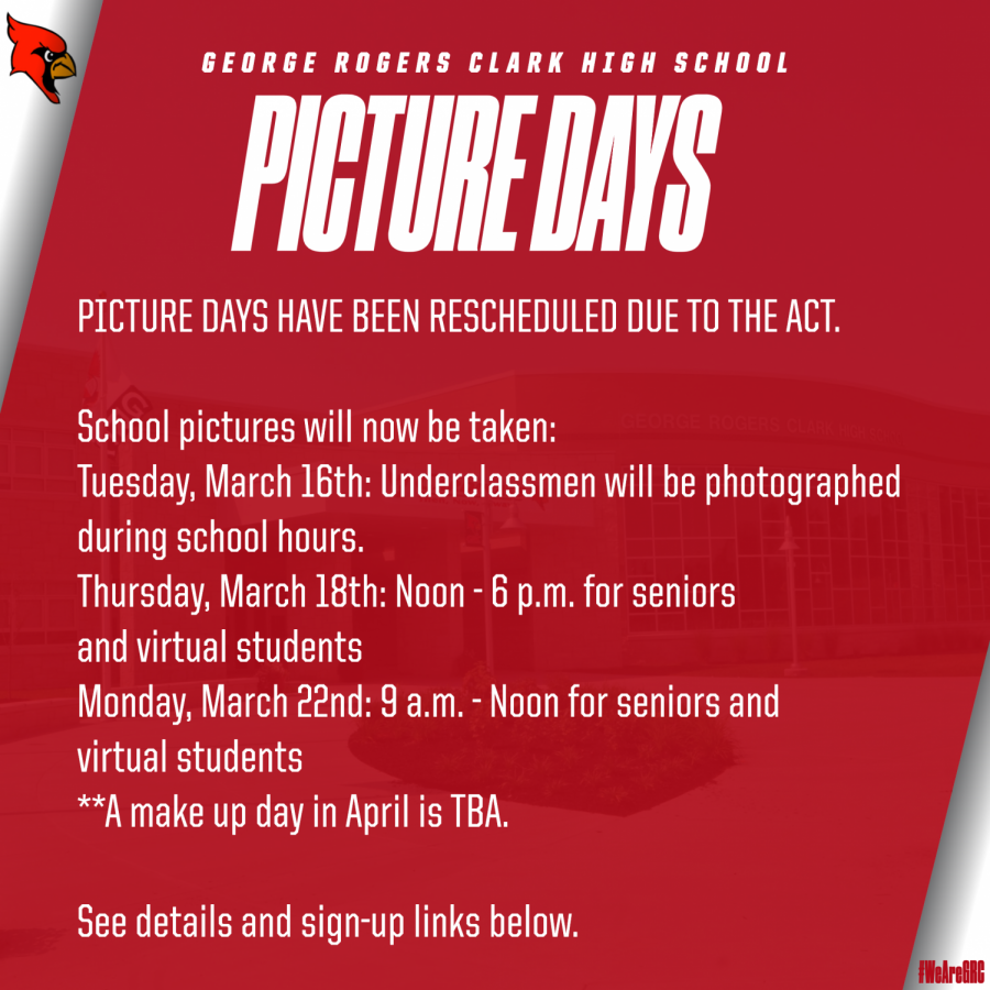 Picture Days rescheduled due to ACT
