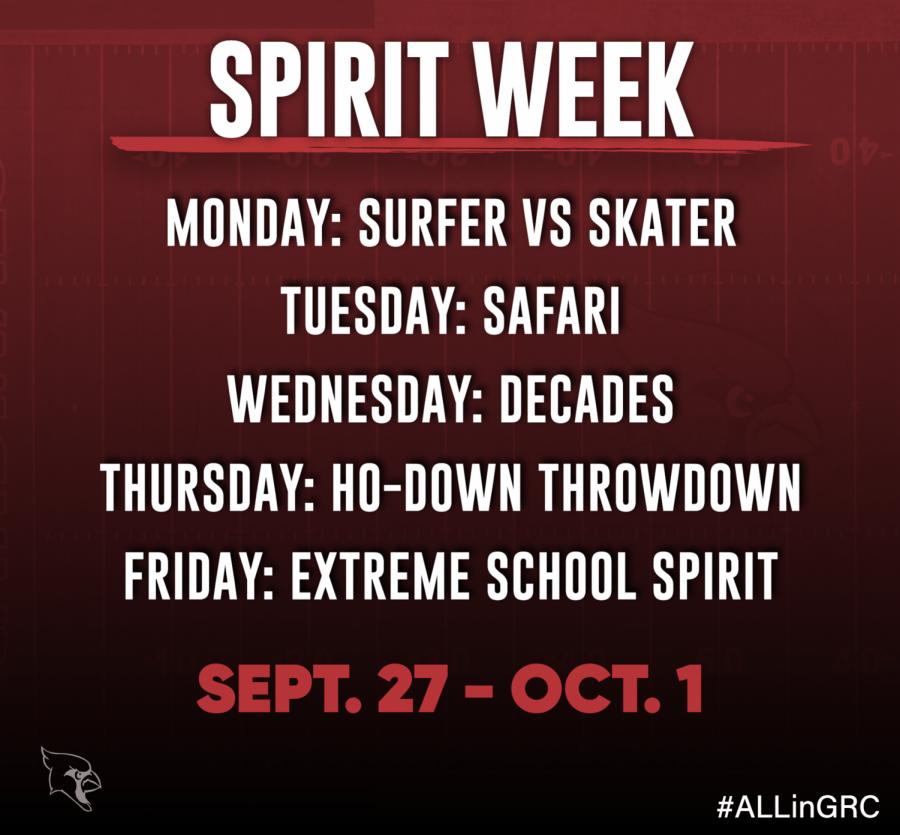 Spirit Week is Sept. 27 - Oct. 1; Powder Puff game is Sept. 26